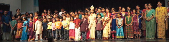 BKM Tamil School children performing Tamil Thai Vazhthu at the start of the year end program.                                                                                                 Photos:  Dr. Gopal