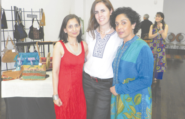 The three women behind the Earthredz brand of handbags, from left, Vandana Prakash, Mercedes Ortiz Monasterio and Kalpana Peck at their Pop-Up Shop in the Kirby Center this past Saturday, May 10.