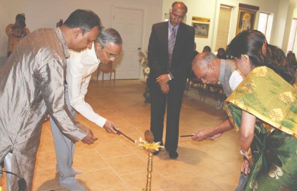 From left: Sanjay Jain, Ramesh Bhutada, Indian Consul General P. Harish, Sharad Amin, and Dr. Lata Ramchand.