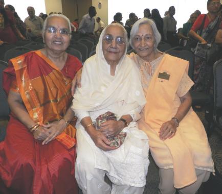 Three elders who enjoyed the musical program, from left, Bhagwati Parikh, Shakuntla Malhotra and Sudha Trivedi.