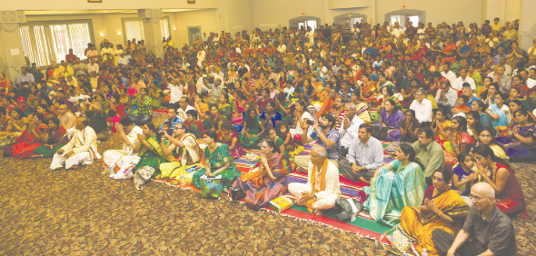 The vast crowd at the Kalyana Mandapam sat
