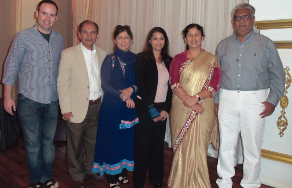 At the sugarcane investment presentation held on Sunday, May 4 at Crystale Ballroom were presenters (from left) Adam Hartley, Dr. Syed Azhar and his wife Dr. Rukshan Azhar, Shahla Ali, Maharashtra Minister of State Fauzia Khan and her husband Tehseen Khan, CEO and Managing Director of Tridhara Sugar mill located in Parbhani, Maharashtra.