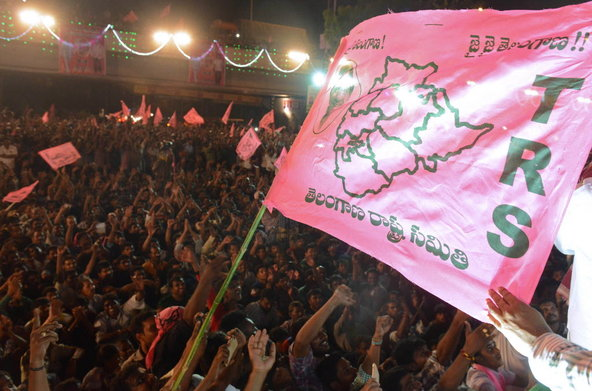 Noah Seelam/Agence France-Presse — Getty ImagesSupporters celebrating the formation of the new state of Telangana in Hyderabad on Monday.
