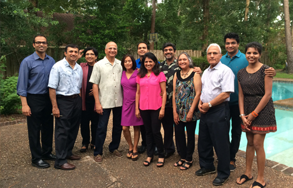 Members who attended the Connoisseurs club meeting on Friday, June 20, at the home of Abhijit and Anjali Gadgil (Fourth and fifth from left).
