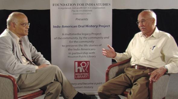 Krishna Vavilala interviewed  P.C.Sharma (right) , President of Hindu Worship Society in HCC studio on May 9, 2014.