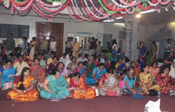 Devotees recite Lalitha Sahasranamam at Raja Mathangi Homam at Sri Meenakshi temple