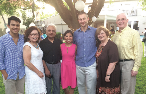 The newly engaged couple Nicole Alam and Daniel Sullivan with their families. To the left of Nicole, the Alam family, Ryan, Polly and Sohail. To the right of Daniel, his parents Eleanor and Patrick Sullivan. Photo: Jawahar Malhotra