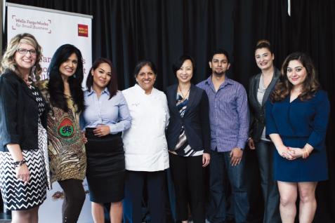 """Making Dollars & Sense"" Panelists (from left): Katrina Lava - Wells Fargo; Ruby Bhandari - Silk Threads Designs; Anisa Chandavong - Wells Fargo; Chef Kiran Verma - Kiran's Restaurant; Nancy Wong - Wells Fargo; Apurva Sanghavi - START Houston; Tanaz Choudhury - TanChes & MABY; Reema Rasool - SAY WE Founder."