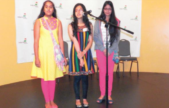 Three teenage girls performed an English pop song