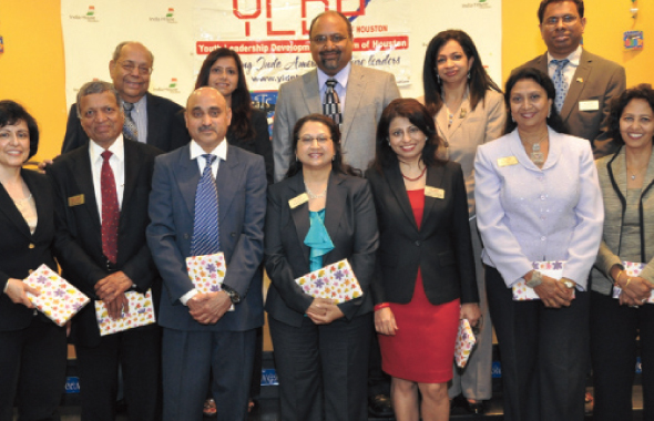 The Youth Leadership Development Program Board of Directors after the 2014 Class graduation on Saturday, May 31 at India House. President Sushma Bhan is at extreme left, first row and Chairman Nat Krishnamurthy is on extreme left, second row.