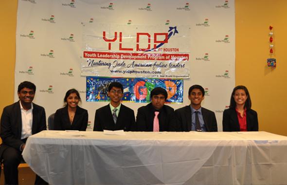 Team C - Haritha Jupudy , Perry Alagappan , Karthik Satish , Arjun Ramsunder, Avnii Patel with team lead Tejesh Guddanti, at the YLDP 2014 graduation ceremony held at India House on Saturday, May 31.
