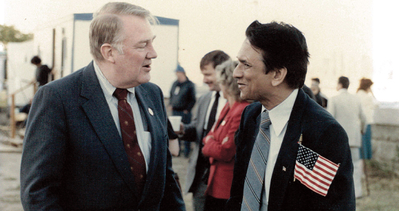 Ram Gupta speaks with US Attorney General Edwin Meese after the swearing in ceremony at Ellis Island on July 3, 1986