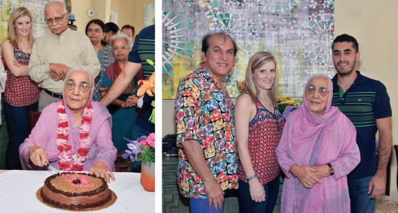 Shakuntla Malhotra cutting her 86th birthday cake at a celebration at Nirvana Restaurant this past Sunday, July 27 and in a group picture with her grandson Stefan (right) and his friend Alexandra, and her son Jawahar (left).      Photos: Bijay Dixit
