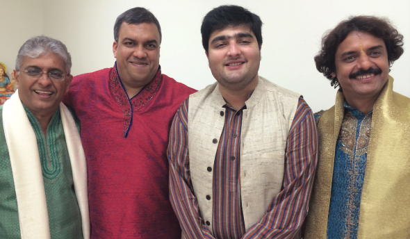 The musicians who played with Anuradha Paudwal (from left) Hemant Bhavsar, Dexter Raghunanan, Aditya Paudwal and Shushilkant Sharma