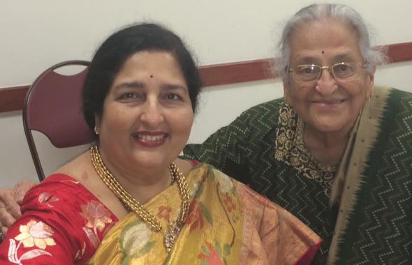 Anuradha Paudwal with a family friend, Radha Golikeri