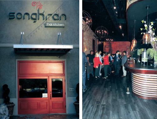 Front entrance of SongKran Kitchen in the exclusive Uptown Park district (left). The interior features contemporary furnishings with an East Asian flair. In Sanskrit, the word Sonkran means 'passing' or 'approaching'. Sonkran is named after one of Thailand's water festivals. This water festival marks the beginning of the Thai New Year. Chef Jett Hurapan has created a menu that signifies this auspicious and celebratory festival.