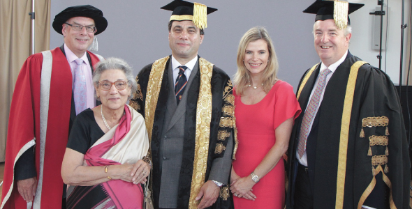 Lord Karan Billimoria at his installation as Chancellor of the University of Birmingham. From left:  Vice Chancellor Professor Sir David Eastwood; Mrs. Yasmin Bilimoria, Lord Karan Billimoria, Lady Bilimoria and Pro-Chancellor Ed Smith CBE.
