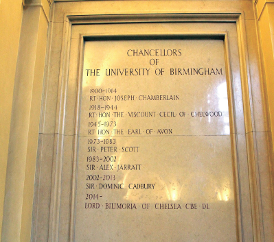 The plaque of all previous University of Birmingham Chancellors, which include the Rt. Hon Joseph Chamberlain.