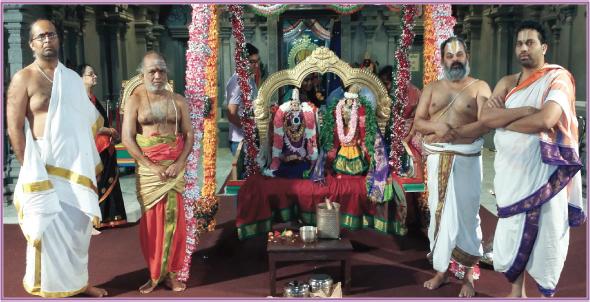 Sri Meenakshi and Sri Anadal (Lakshmi), Aadi pooram Puja at MTS with Priests Sri (Parameswaran, Manicka Sundara Bhattar, Sridharan Raghavan and Pavan Kumar).
