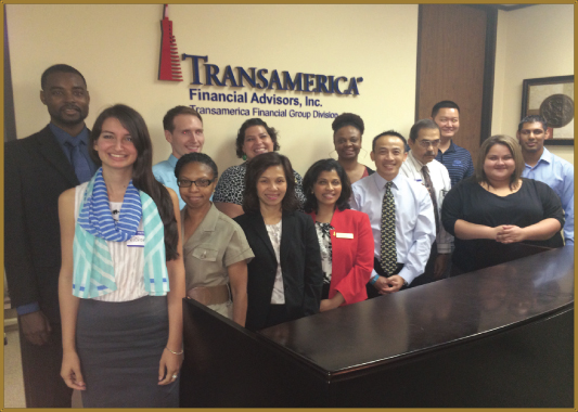 The World Financial Group team at their grand opening celebration on Saturday, August 9. At extreme left is Andrae Evans; in front row center in red is Jyoti Evans and flanking her are agency mentors Alex Nguyen and Stephanie Bui.
