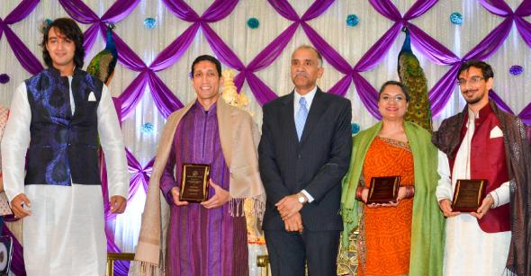 Akhil Chopra Memorial Award Winners: Dr. Rahul Pandit (second from left), Radha Dixit and Rishi Bhutada (extreme right) with Saurabh Raj Jain (extreme left), and Consul General Harish (center).