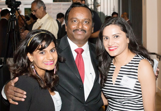 Event emcee KTRH TV reporter Pooja Lodhia (left) and Event coordinator Vanitha Pothuri flank IACF President Ramesh Cherivirala