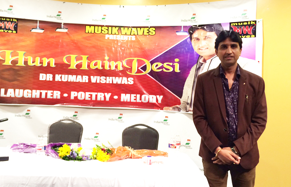 Dr. Kumar Vishwas during the Hum Hain Desi show, which was held at India House on Saturday, August 2.             Photos: Vanshika Vipin