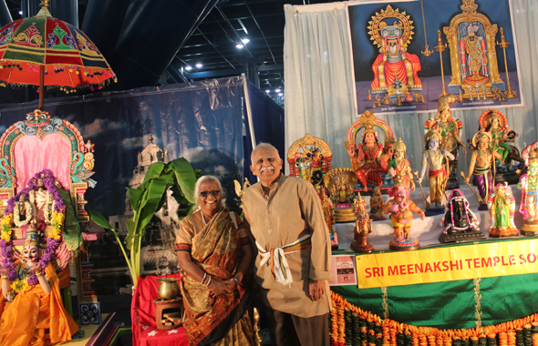Dr S.G. Appan (Life time achievement award recipient) and Rajam Appan (left) in front of the Sri MTbooth at GRB Janmashtami.