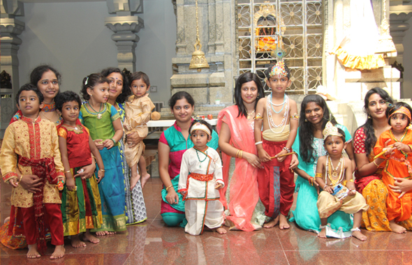 Children in Fancy dress in front of Ganesh Sannadhi On Gokulashtami getting ready for Uriadi at Meenakshi temple  Photos: Koushik Govindararajan