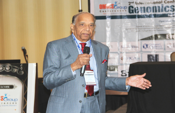 Dr. Dronamraju delivering the Keynote Address in Raleigh, North Carolina.