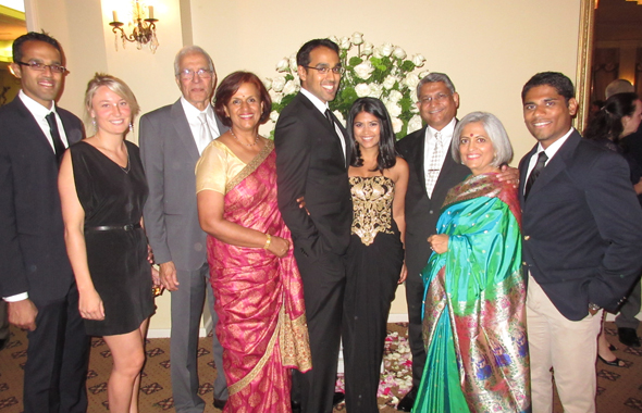 The two families at the engagement party in Sweetwater Country Club in Sugar Land. From left, older brother Nicholas, his girlfriend Marie-Helen Boivin, father John Alfonso, mother Vera, Sascha, Ipshita, father Amey, mother Monica and younger brother Chintan.