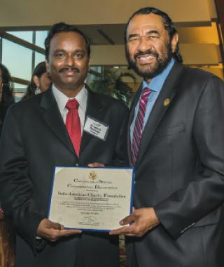 IACF President Ramesh Cherivirala (left) with Congressman Al Green.              Photos: Murli Santhana