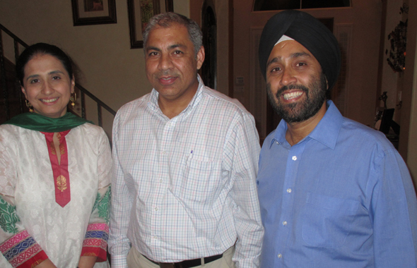 Ravi Kalra, the founder and Director of the Earth Saviours Foundation, with Jasdeep and Dev Lamba at an awareness and fundraising event held at their house.