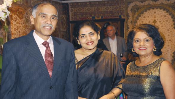 Consul General Parvathaneni Harish and his wife Nandita and Omana Abraham.