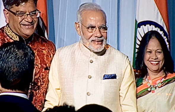 Houston businessman Jugal Malani and his wife met with PM Narendra Modi afterwards at a private reception in New York.