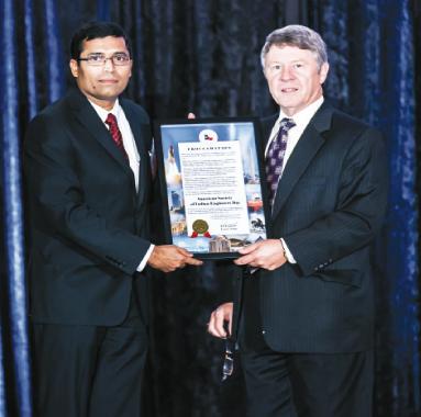 ASIE President, Sekhar Ambadapudi accepting a Harris County proclamation from Judge Ed Emmett    Photos: Navin Mediwala