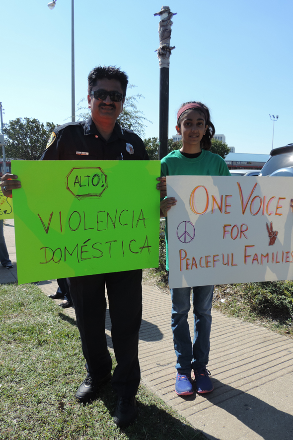 HPD Officer Muzaffar Siddiqi and his daughter Dania participated in the One Voice human chain.
