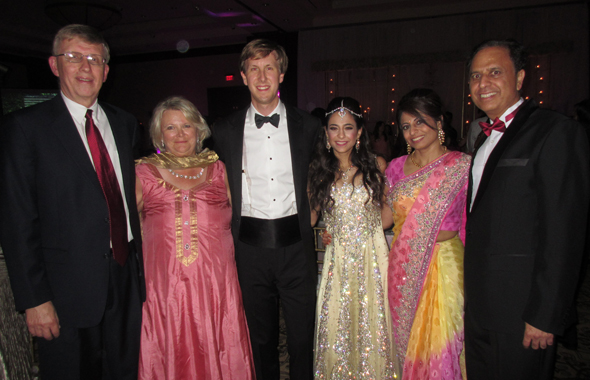 The bride and groom, Nikisha Pasrija and Sean Hill at the reception in the evening with their parents, Carol and Charles Hill on the left and Sangeeta and Dr. Arun Pasrija on the right.  Photo: Jawahar Malhotra
