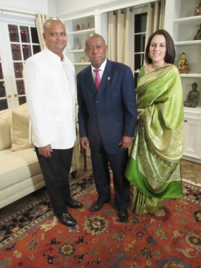 City of Houston Mayor Sylvester Turner with Indian Consul General Anupam Ray and his wife Dr. Amit Goldberg at a Diwali reception in Turner's honor at the CG's residence on Friday, November 11.