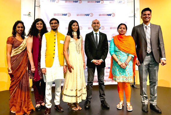 At the Hindu American Foundation fundraiser held this past Sunday, from left, Priya Prasad, Seetha Aiyar, Rishi Bhutada, Sheetal Shah, comedian Rajiv Satyal, Sanjesh Dhanja and Kiran Kumari. Photo: Nik Nikam
