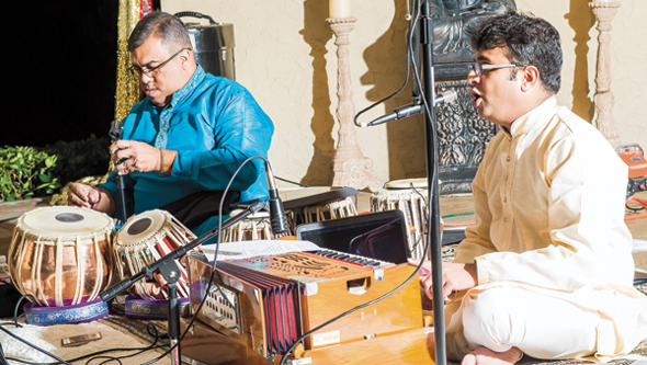 A highlight of the evening was music featuring vocalist Salil Bhavekar (right) accompanied by Dexter Ranganathan on the tabla.