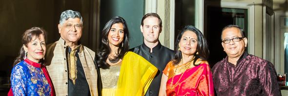 City of Houston Controller Chris Brown with wife Divya (center), Pradeep and Kiran Gupta (left) and hosts Savita and Sanjay Rao.