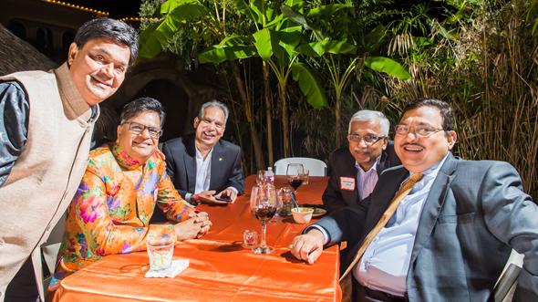 Animated discussions were underway with Tom Abraham (left), Jugal Malani, Harish Jajoo, Swatantra jain and Dr. Amitabh Shukla.
