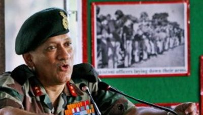 A file photo of Lt Gen Bipin Rawat, who will be India's new army chief. (This photo was tweeted by PTI)