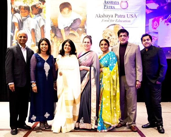 From left: Desh Deshpande, Piyali Dutta, Manisha Gandhi, Emily Rosenbaum, Dr. Kiran Patel, Dr. Pallavi Patel and Omi Vaidya.