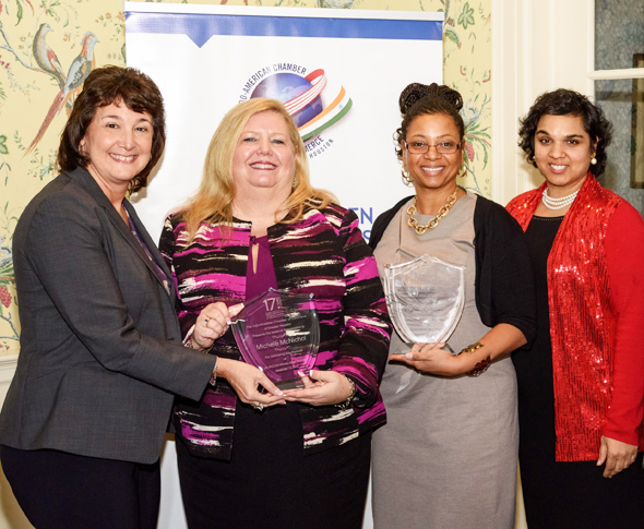 From left: Shell Projects and Technology CIO Amy Sulz, Wood Group CEO Michele McNichol, HMSDC President Ingrid Robinson, IACCGH President Joya Shukla Photos: Bijay Dixit