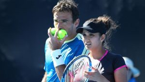Sania Mirza and Ivan Dodig of Croatia beat Rohan Bopanna and Gabriela Dabrowski in tie-break to enter the semifinals of the mixed doubles event at the Australian Open.(Getty Images)