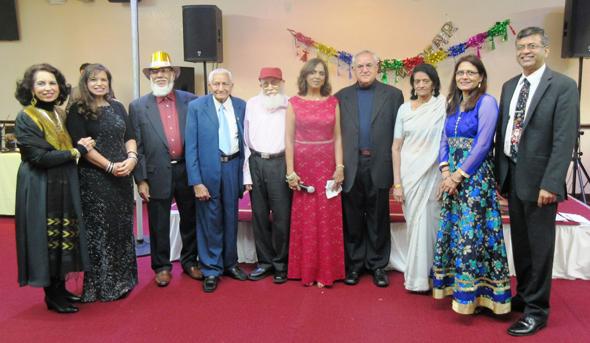 "The team that brought together the Club 65 New Year's party; from left, Rahat Kalle, Rosina Jaferali, Hatim Kanorwala, Kamuruddin Rahim, Tayeb ""kaka"" Shipchandler, Paru McGuire, Fateh Ali Chatur, Farida Jinnah and Dilkish and Saeed Pathan."