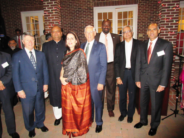 The speakers at the Republic Day reception with Dr. Anupam Ray and his wife Dr. Amit Goldberg Ray, from left, Judge Ed Emmett, Dr. John Mendelsohn, Jerry Davis , Ashok Belani and Bhavesh Patel. Photos: Jawahar Malhotra
