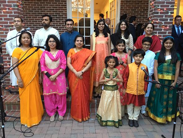A group from Pt. Suman Ghosh's Saadhana Pariwar performed the Indian and US national anthems. Photos: Vanshika Vipin Varma